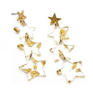 Lucite Gold Flake Earrings